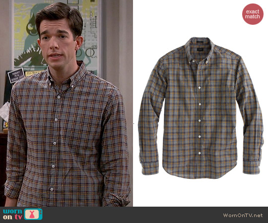 J. Crew Secret Wash Shirt in Heather Navy Check worn by John Mulaney on Mulaney