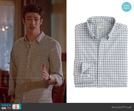 J. Crew Secret Wash Shirt in Stone Blue Gingham worn by Grant Gustin on The Flash