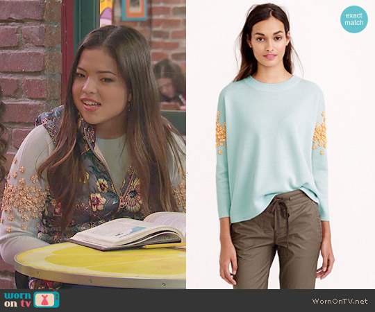 J. Crew Sequin Floral Sweater worn by Piper Curda on IDDI