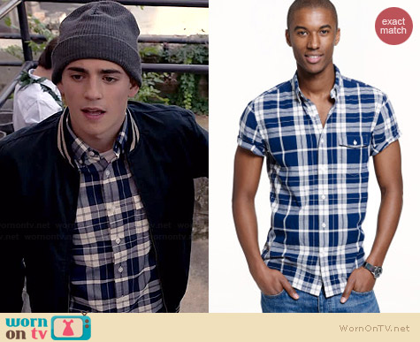 J. Crew Short-sleeve Indian Cotton Shirt in Blue Plaid worn by Charlie Rowe on Red Band Society