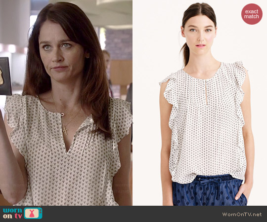 J. Crew Silk Cascade Blouse in Abstract Peacock worn by Robin Tunney on The Mentalist