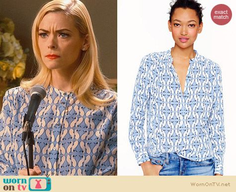 J. Crew Silk Cat Print Blouse worn by Jaime King on Hart of Dixie