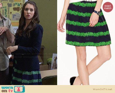 J. Crew Silk Skirt in Beanstalk Stripe worn by Alison Brie on Community