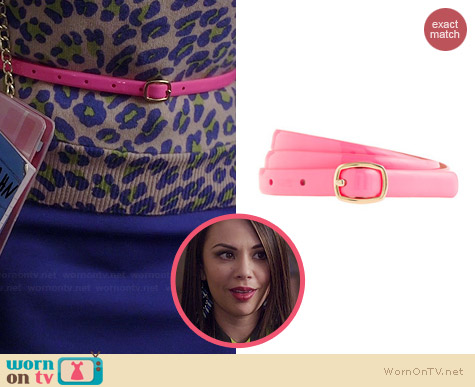 J. Crew Skinny Patent Belt in Pink worn by Janel Parrish on PLL