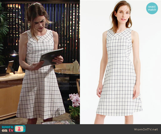 J. Crew Sleeveless A-Line Dress in Windowpane Tweed worn by Amelia Heinle on The Young & the Restless