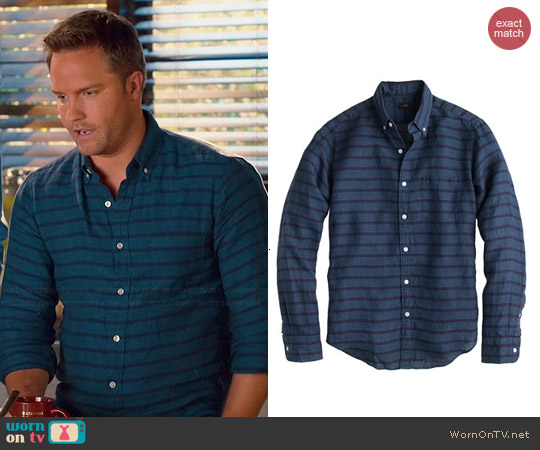 J. Crew Irish Linen Stripe Shirt worn by Scott Porter on Hart of Dixie