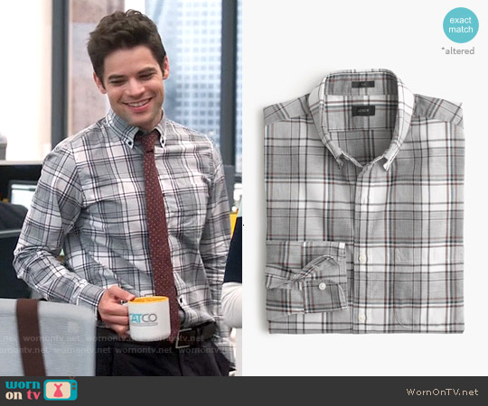 J. Crew Slim Secret Wash Shirt in Burnished Mahogany Plaid worn by Jeremy Jordan on Supergirl