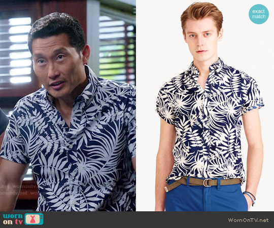 J. Crew Secret Wash Shirt in Fern Print worn by Daniel Dae Kim on Hawaii Five-O