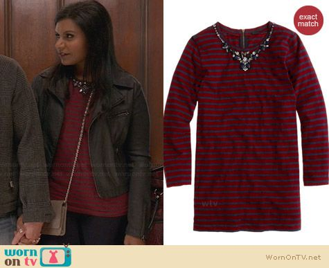 J. Crew Stripe Necklace Tee worn by Mindy Kaling on The Mindy Project