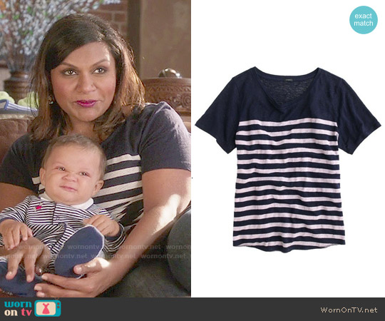 J. Crew Linen Striped T-shirt in Navy Semi Bleach worn by Mindy Kaling on The Mindy Project