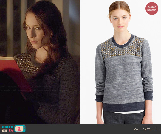J. Crew Studded Sweatshirt worn by Troian Bellisario on PLL
