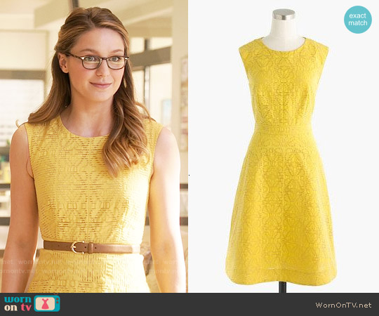 J. Crew Textured Eyelet Jacquard Dress worn by Melissa Benoist on Supergirl