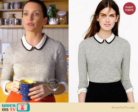 J. Crew Tipped Silk Collar Top worn by Kristen Davis on Bad Teacher