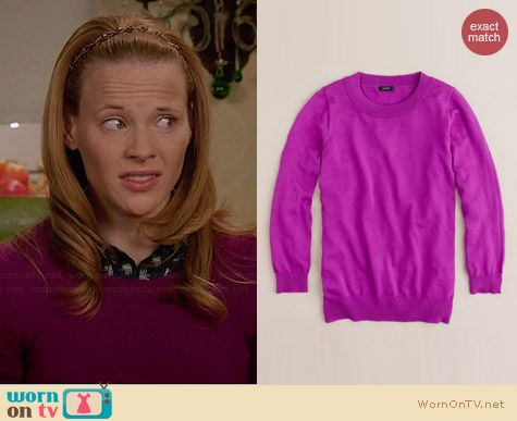 J. Crew Tippi sweater in Bright Dahlia worn by Katie Leclerc on Switched at Birth