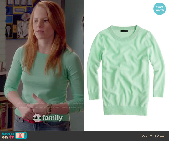 J. Crew Tippi Sweater in Cafe Mint worn by Katie Leclerc on Switched at Birth