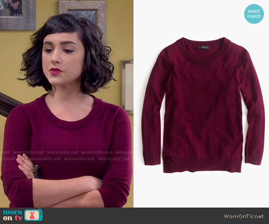 J. Crew Tippi Sweater in Garnet Flame worn by  Molly Ephraim on Last Man Standing