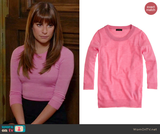 J. Crew Tippi Sweater in Hthr Begonia worn by Lea Michele on Glee