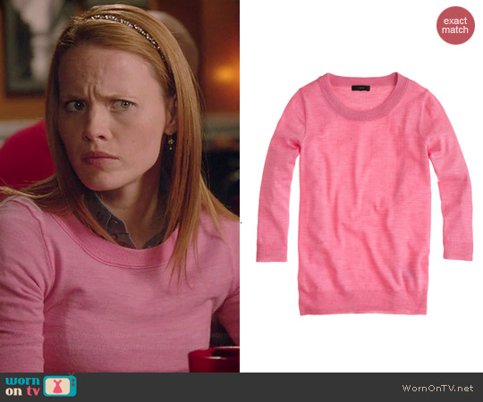 J. Crew Tippi Sweater in Hthr Begonia worn by Katie Leclerc on Switched at Birth
