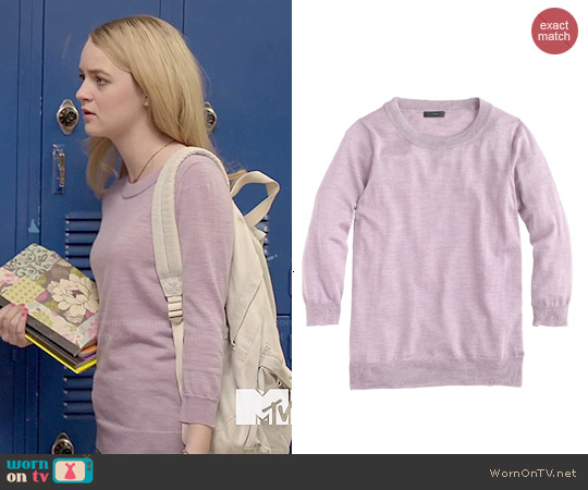 J. Crew Tippi Sweater in Hthr Lavender worn by Anna Jacoby-Heron on Finding Carter