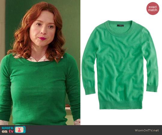 WornOnTV: Kimmy's green sweater, flamingo print shirt and navy ...