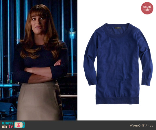 J. Crew Tippi Sweater in Midnight worn by Rachel Berry on Glee