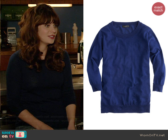 J. Crew Tippi Sweater in Midnight worn by Zooey Deschanel on New Girl
