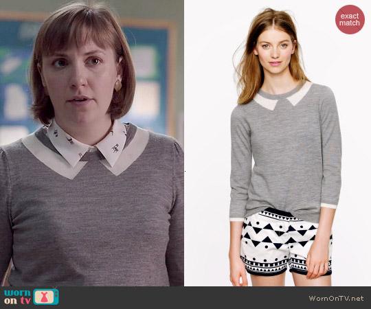 J. Crew Tippi Sweater in Trompe L'Oeil worn by Lena Dunham on Girls