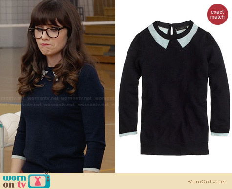 J. Crew Tippi Sweater in Trompe L'Oeil worn by Zooey Deschanel on New Girl