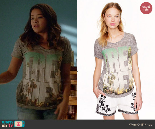 J. Crew Linen Tee in Tres Bien worn by Gina Rodriguez on Jane the Virgin