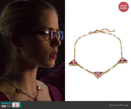 J. Crew Triad Necklace worn by Emily Bett Rickards on Arrow