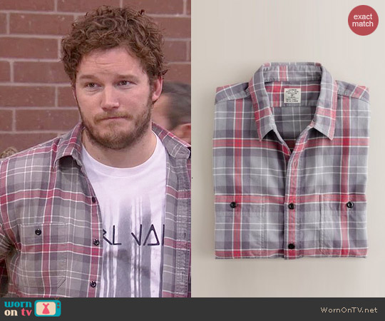 J. Crew Vintage Flannel Shirt in Winterbrook Plaid worn by Chris Pratt on Parks & Rec