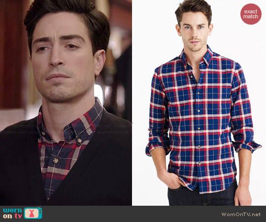J. Crew Vintage Oxford Shirt in Haven Blue Plaid worn by Ben Feldman on A to Z