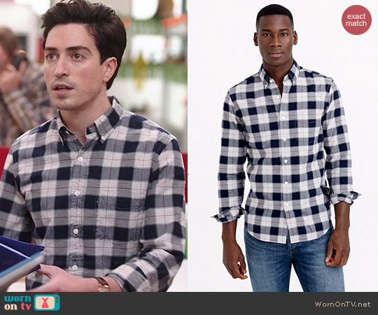 J. Crew Vintage Oxford Shirt in Heather Ash Plaid worn by Ben Feldman on A to Z