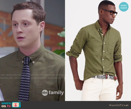 J. Crew Vintage Oxford Shirt in Tonal Cotton Bench Green worn by Kevin Reid on Kevin from Work