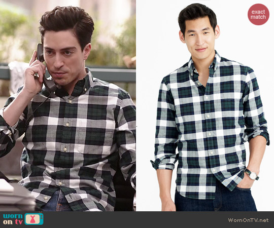 J. Crew Vintage Oxford Shirt in Warm Spruce Plaid worn by Ben Feldman on A to Z