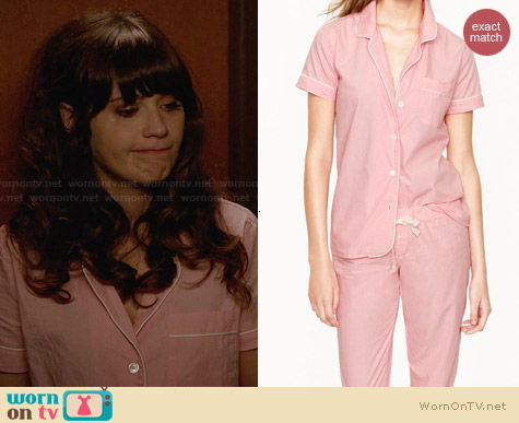 J. Crew Vintage Short-Sleeve Pajamas in Neon Coral worn by Zooey Deschanel on New Girl