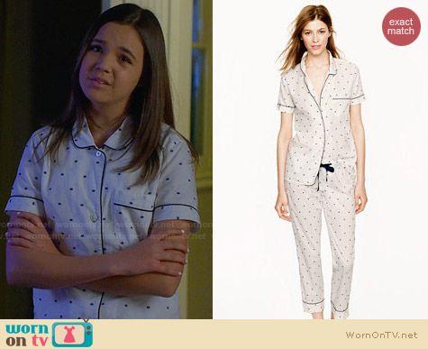 J. Crew Vintage Short Sleeve Pajama Set in Split Dot worn by Bailee Madison on Trophy Wife