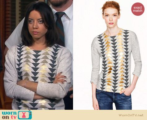 J. Crew Vintage Sweatshirt in Metallic Triangles worn by Aubrey Plaza on Parks & Rec