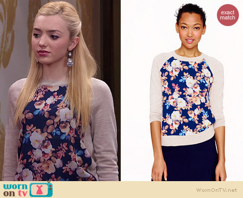 J. Crew Wool Silk Panel Sweater in Antique Floral worn by Peyton List on Jessie