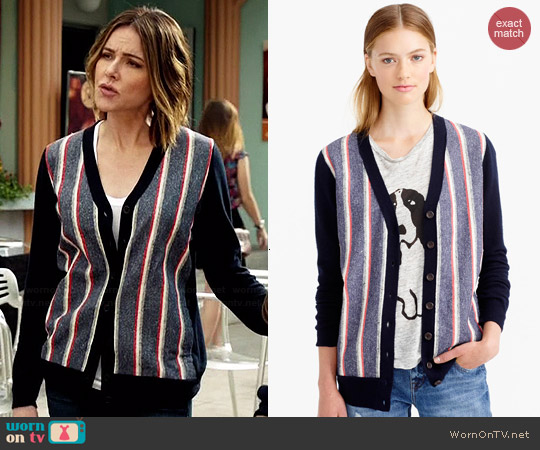 J. Crew Woven Front Cardigan worn by Christa Miller on Cougar Town