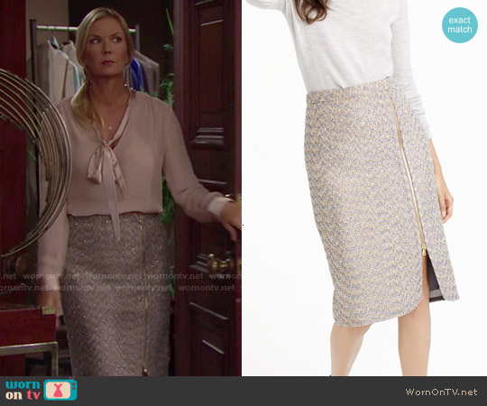 J. Crew Zip Front Pencil Skirt in Sparkle Tweed worn by Brooke Logan on The Bold & the Beautiful