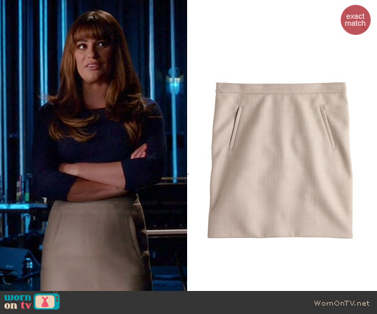J. Crew Zip Pocket Mini Skirt in Hthr Stone worn by Lea Michele on Glee