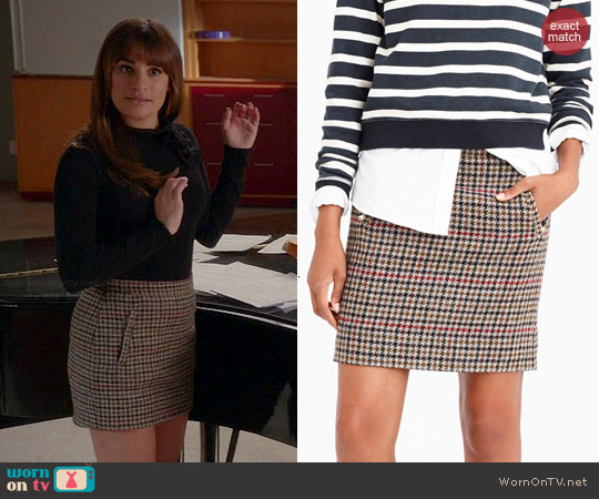 J. Crew Zip Pocket Mini Skirt in Tweed worn by Rachel Berry on Glee