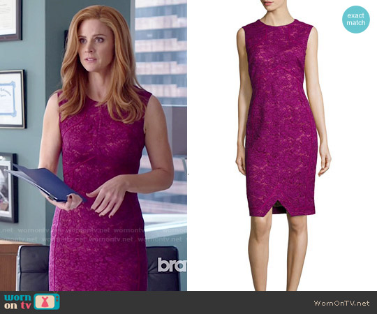 J Mendel Corded Floral Lace Sheath Dress worn by Sarah Rafferty on Suits
