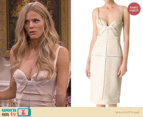 J Mendel Draped Bustier Dress worn by Brooklyn Decker on FWBL