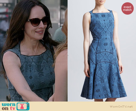 J Mendel Full Skirted Leafy Jacquard Dress worn by Madeleine Stowe on Revenge