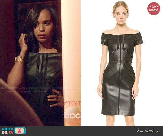 J. Mendel Leather Off Shoulder Dress worn by Kerry Washington on Scandal