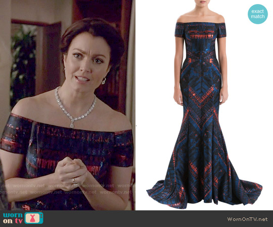 J Mendel Off The Shoulder Lurex Jacquard Gown worn by Bellamy Young on Scandal