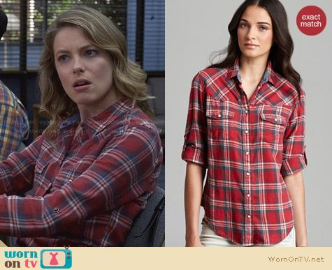 JACHS Beau Girlfriend Shirt in Red worn by Gillian Jacobs on Community