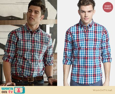 Jack Spade Avery Check Shirt worn by Max Greenfield on New Girl